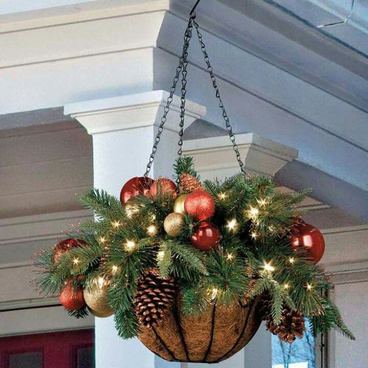 A great way to reuse your summer/fall hanging flower baskets at Christmas.