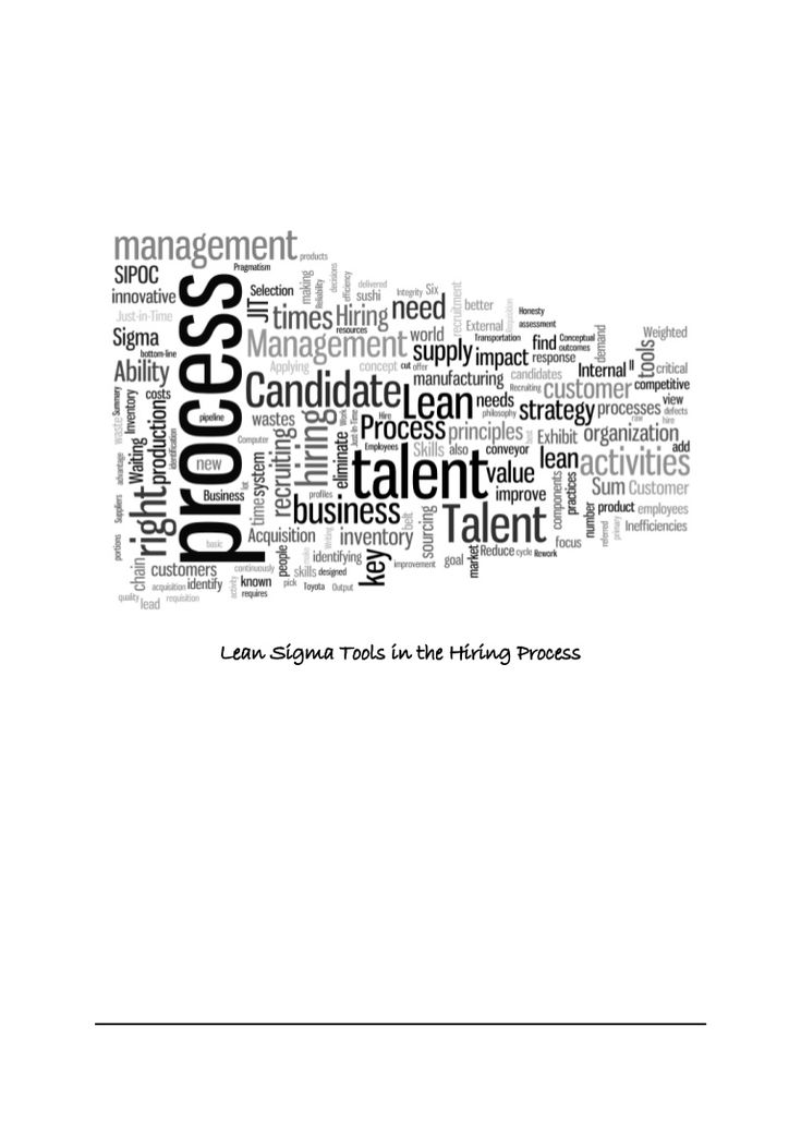Lean six sigma tools in the hiring process by Pradeep Sahay via slideshare