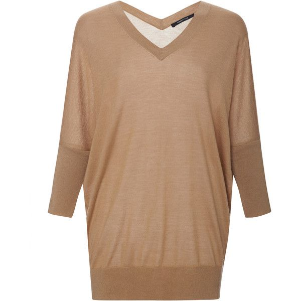 Derek Lam Silk and Cashmere Batwing Sweater ($650) ❤ liked on Polyvore featuring tops, sweaters, camel, cashmere v neck sweaters, batwing tops, v neck silk top, beige sweater and derek lam