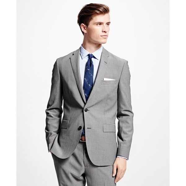 Brooks Brothers Sharkskin Suit Jacket (407,195 KRW) ❤ liked on Polyvore featuring men's fashion, men's clothing, men's suits, grey, mens gray suit, mens sharkskin suits, brooks brothers mens suits, mens grey suits and brooks brothers mens clothing