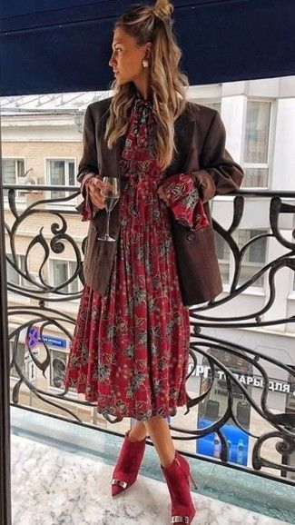 How to wear: dark brown double breasted blazer, red floral midi dress, red suede…