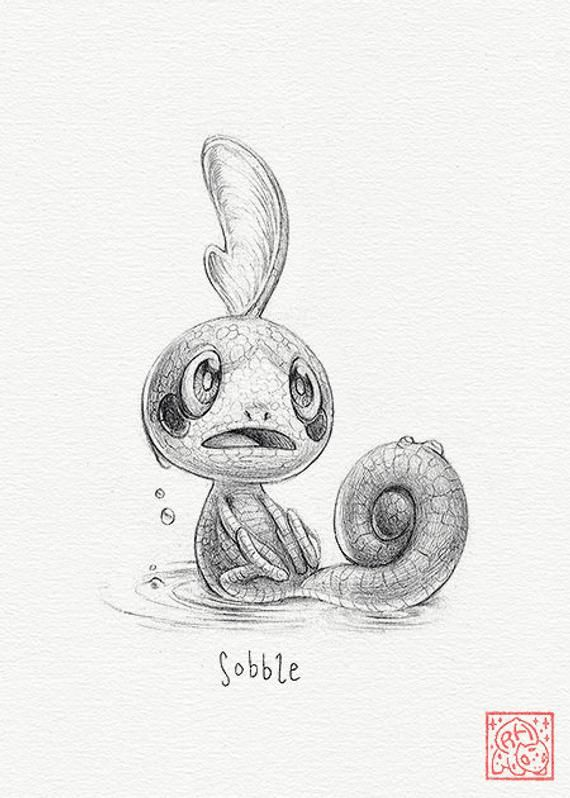 Sobble 5 X 7 Print Pokemon Drawing Art Artwork Gaming Nintendo Decor In 2021 Pokemon Drawings Pokemon Sketch Pokemon
