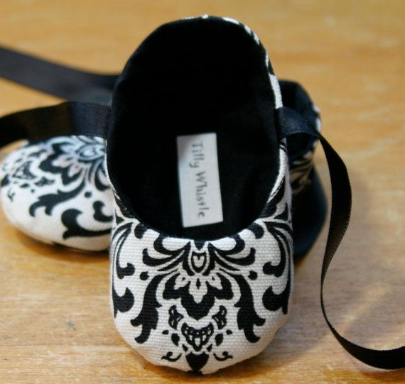 Baby Girl Shoes Black and White Damask Ballet by TillyWhistle, $30.00