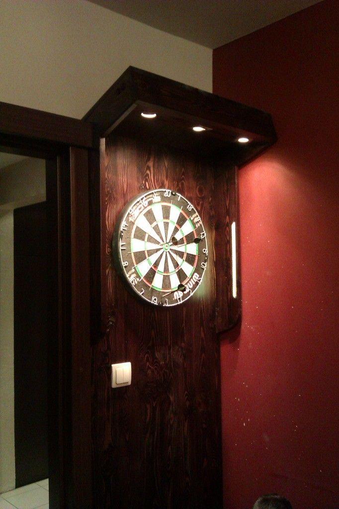 stojąca szafka do tarczy dart, z oświetleniem #stolarzreda #dart