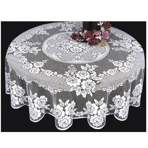 Heritage Lace Victorian Rose 72 Inch Tablecloth, White He... Https: