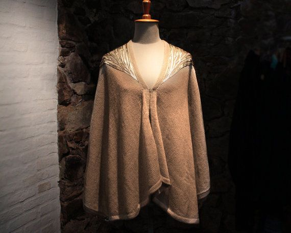 Camel wool cape, Beige poncho with gold leather, Wool wrap with leather