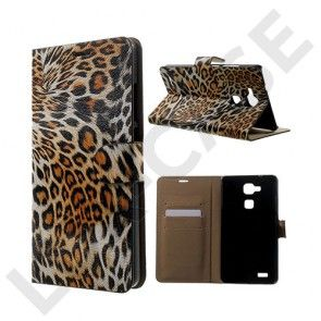 Wildlife Huawei Ascend Mate7 Læder Flip Etui - Orange Leopard
