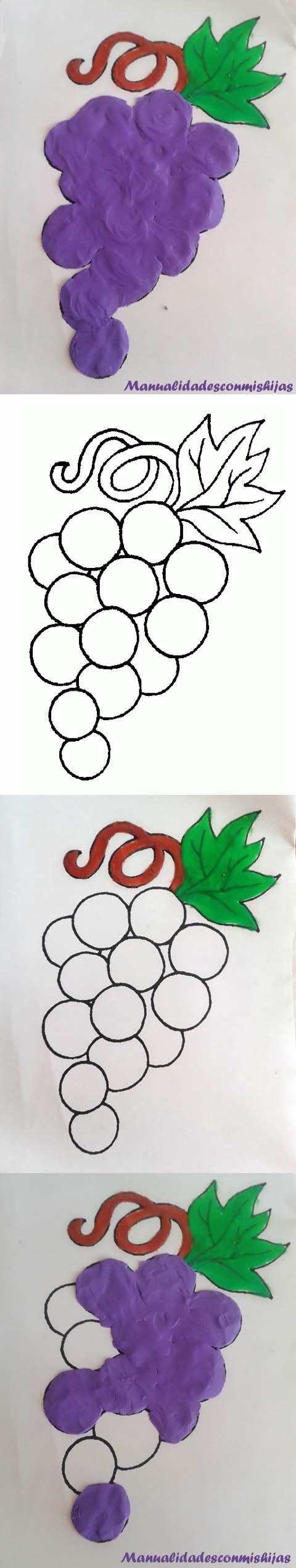Manualidadesconmishijas: Pintando racimo de uvas y otras frutas con plastilina con su molde. fruit grapes template playdough