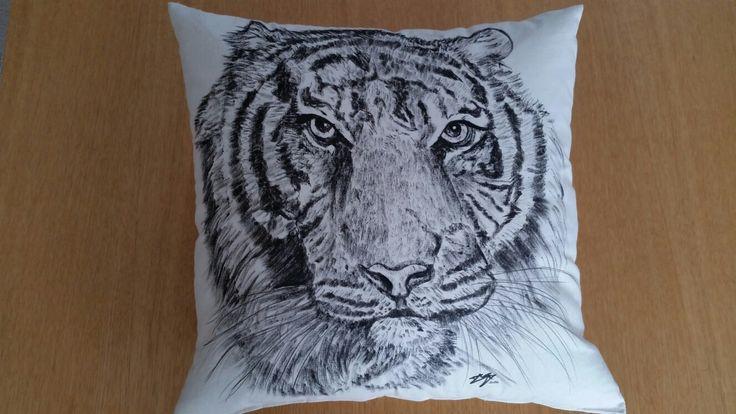 Tiger hand drawn cushion