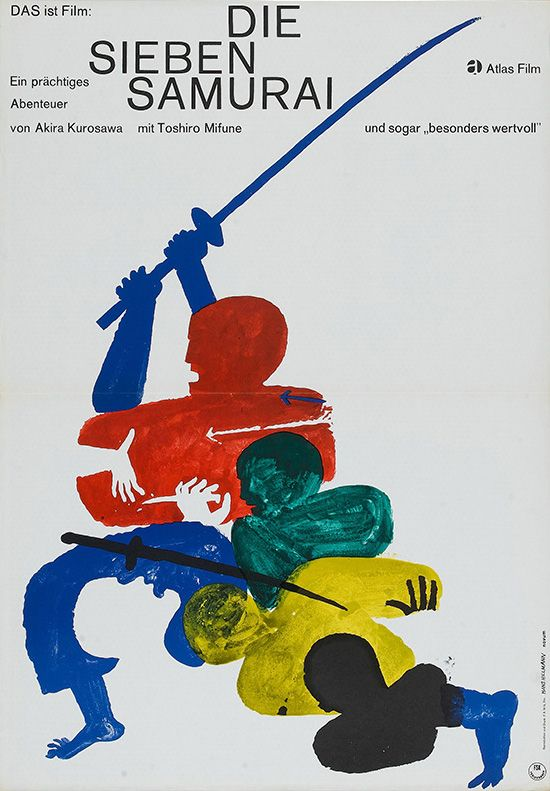 1962 German poster for SEVEN SAMURAI (Akira Kurosawa, Japan, 1954)  Designer: Hans Hillmann (b. 1925)  Poster source: Heritage Auctions  See the 20 most popular posters on Movie Poster of the Day to date at mubi.com: Akira Kurosawa, Movie Posters, Movieposters, Art, Movies, Film Posters