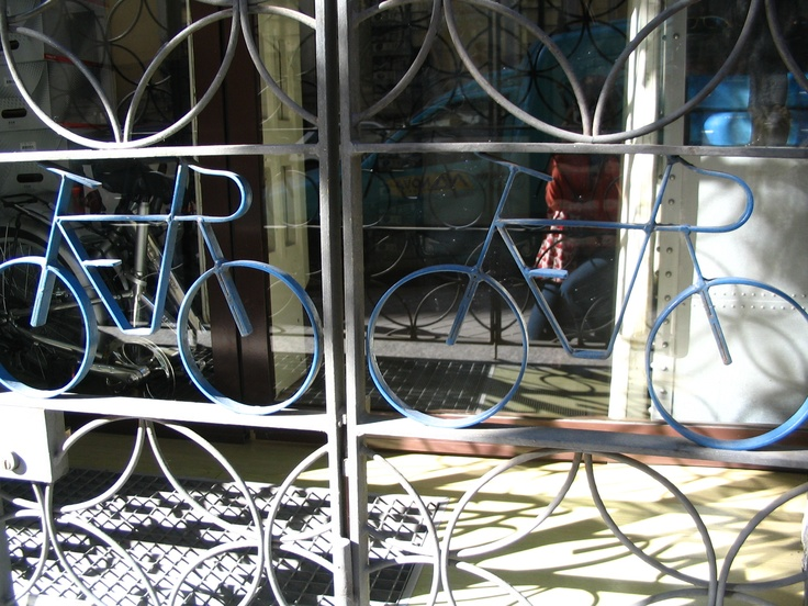 bicycle wrought iron gate, madrid spain