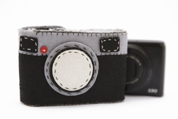 "Fuzzy Wuzzy Camera Case: Too cute! Made of felt, 1.25 x 3.75 x 2.5"". Where is my ruler? $15"