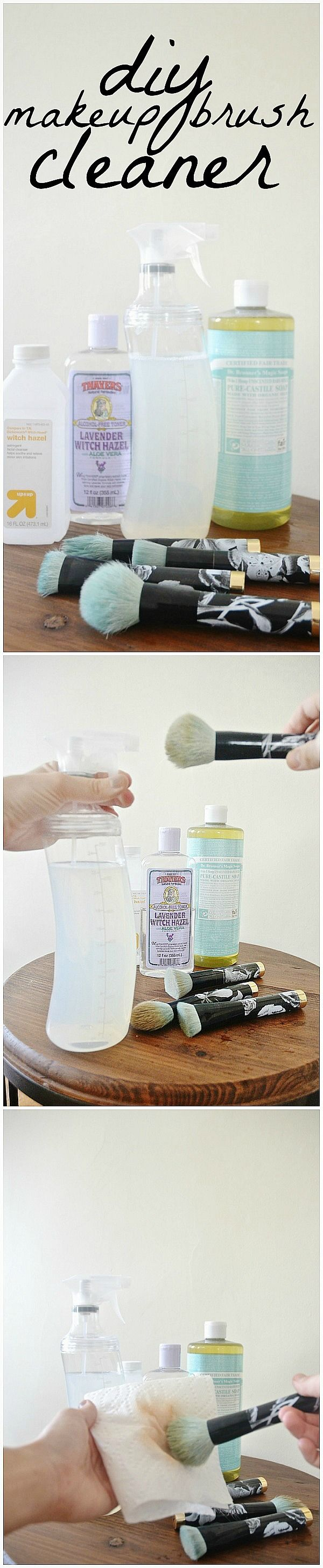 DIY Makeup Brush Cleaner| would be good for a quick cleaning in between the vinegar and dish soap wash