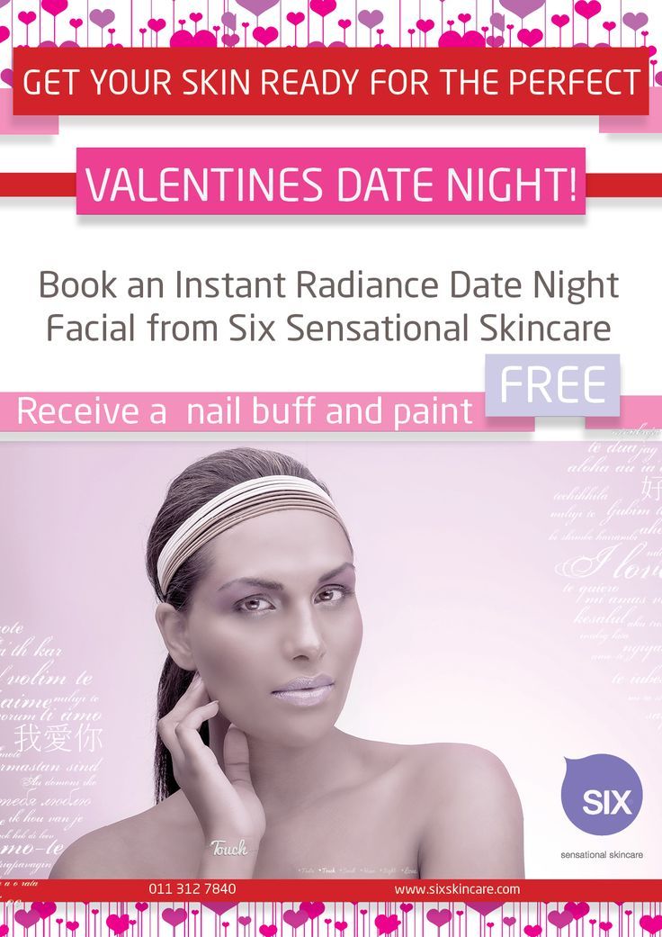 The best Valentines Gift for you special lady. SIX sensational Skincare facial with a file and polish free to really make your loved one feel special. To find out more about a spa or salon near you contact us at www.sixsensationalskincare.com