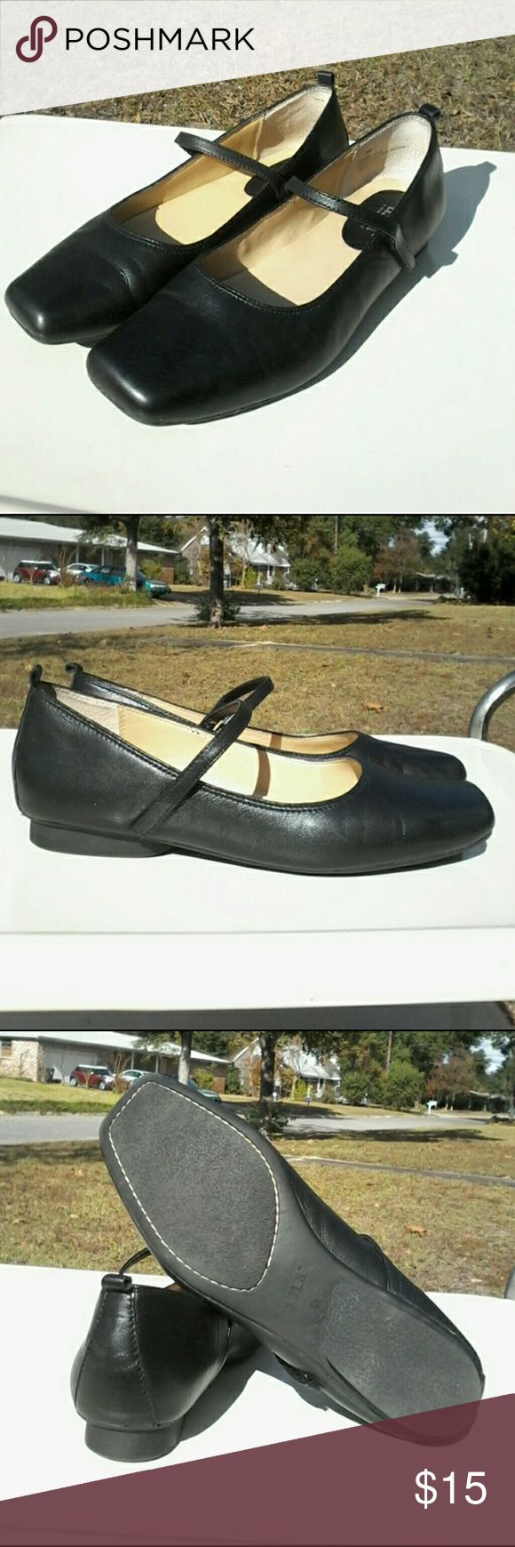 a.n.a  Mary Jane style Leather Flats  velcro strap Excellent preowned condition for a in a black leather flats Mary Jane style with velcro straps in size 7.5 m a.n.a Shoes Flats & Loafers