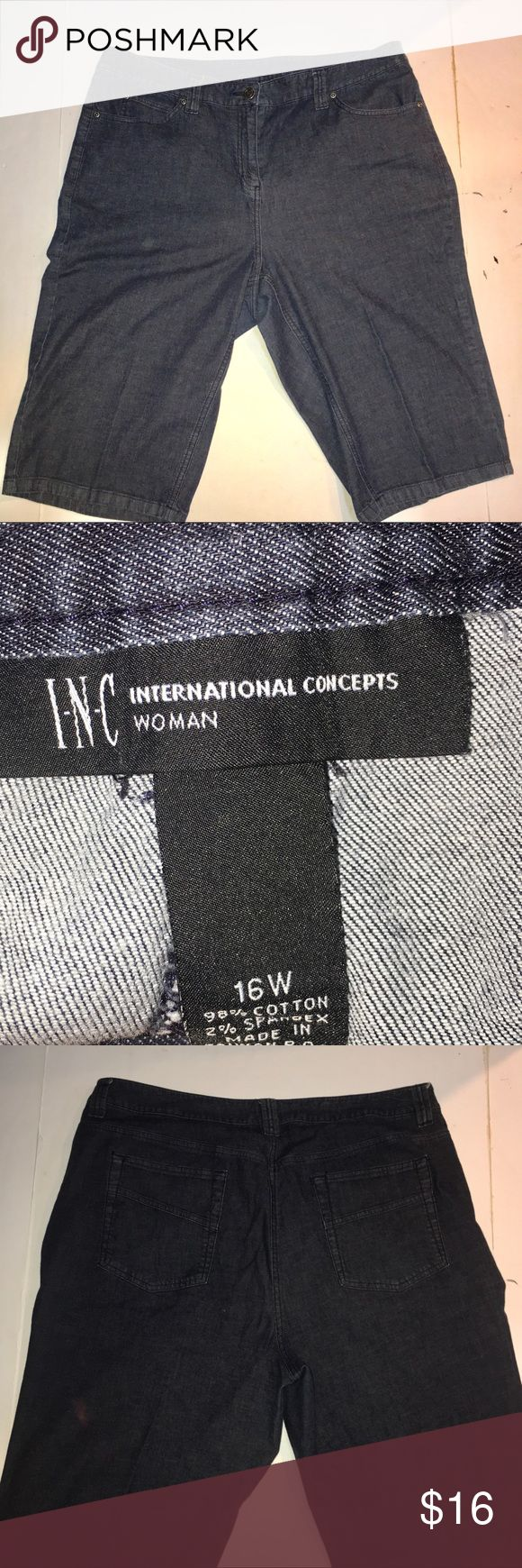 """International Concepts Bermuda shorts In excellent condition! Stretchy fit. 38"""" waist x 14"""" inseam x 12"""" rise INC International Concepts Shorts Bermudas"""