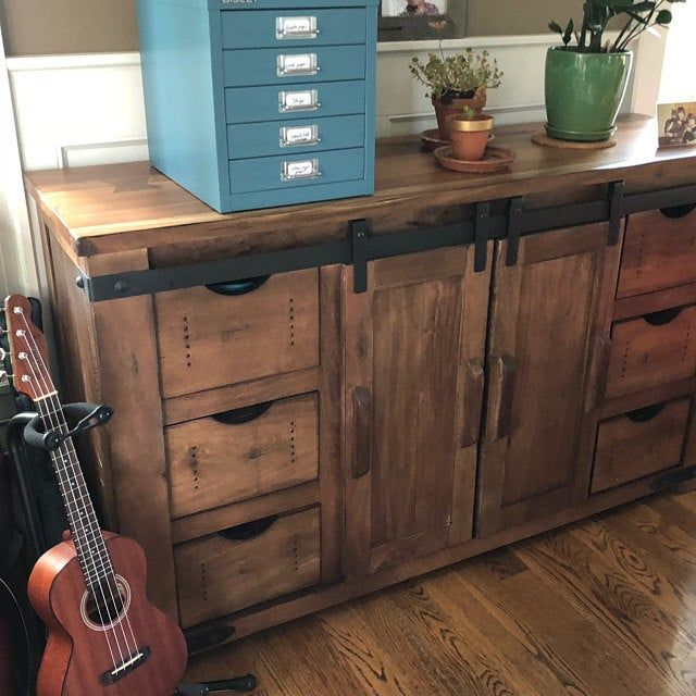Rustic Solid Wood Bar With Barn Doors Wone Rack Storage And Counter Space In Distressed White Finish In 2020 Solid Wood Solid Wood Furniture Solid Wood Sideboard