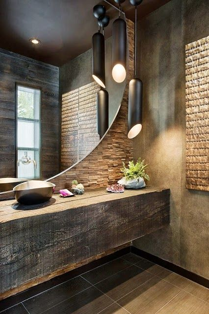 ** mirror, floating countertop, pendent lighting