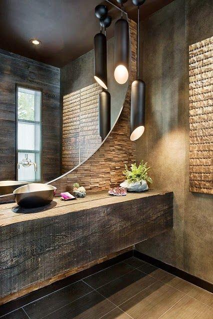 Impactante baño rustico moderno