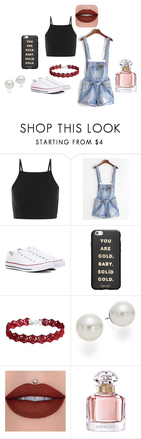 """Movie date with Carter Reynolds"" by ingridhauf on Polyvore featuring WithChic, Converse, ban.do, AK Anne Klein and Guerlain"