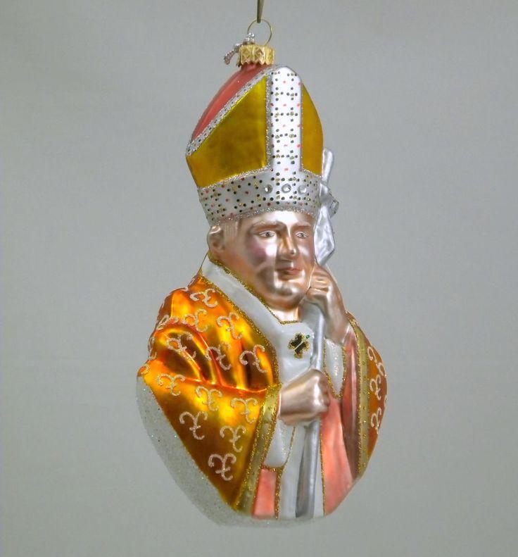 "Edward Bar THE POPE JPII 6.10"" glass Christmas Ornament Hand-made"