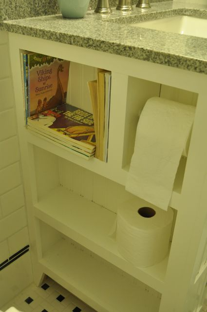Recessed shelves for toilet paper make the area under the for Recessed area