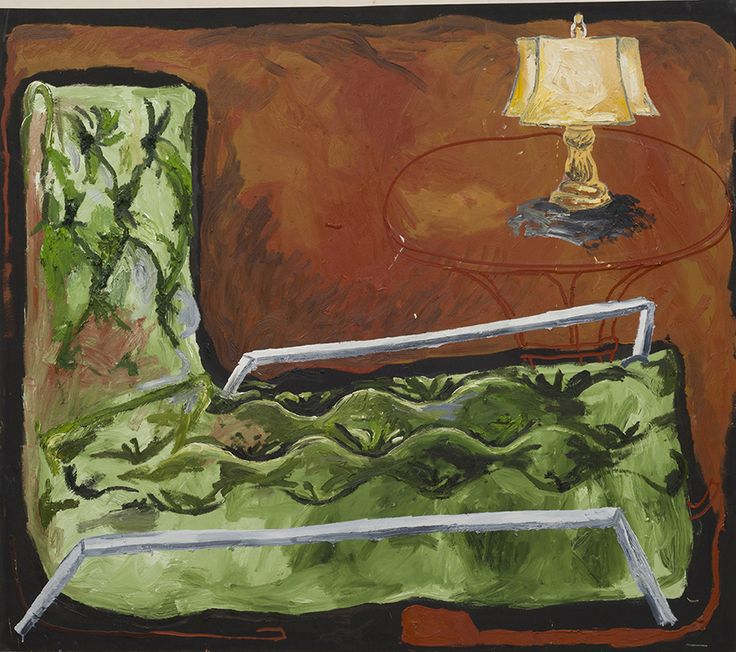 Alex Becerra, Couch and Table with Light, 2014 Acrylic and oil on canvas stretched over panel