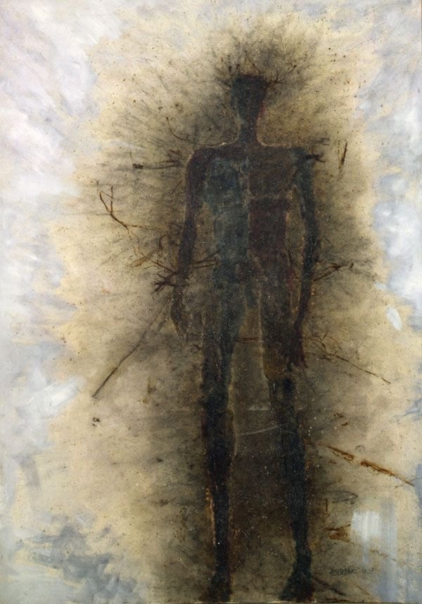 Cai Guo-Qiang, Self portrait: A subjugated soul, gun powder and oil on canvas