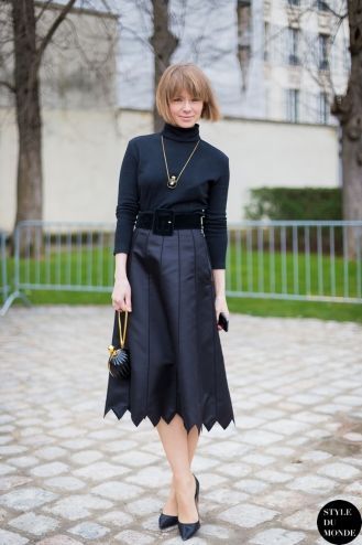 Paris Fashion Week FW 2014 Street Style: Vika Gazinskaya. All black outfit midi leather skirt fashion designer Russian