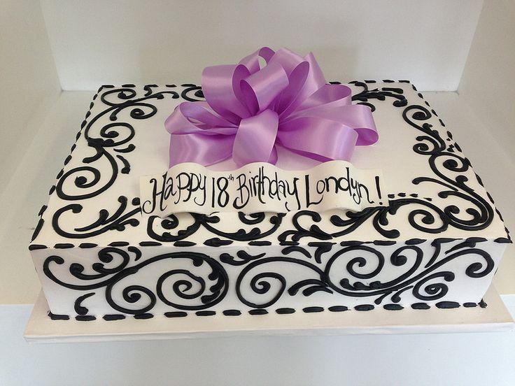 Black viney piping sheet cake (2527)