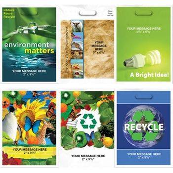 "Full Color Eco Theme Custom Plastic Bags - 11""w x 15""h"