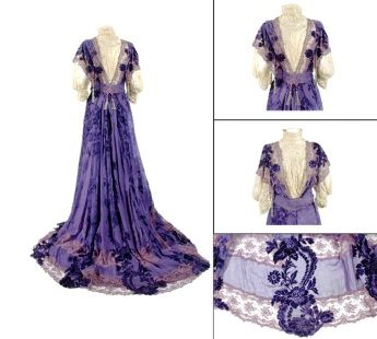 Worth Deep Iris Coupe des Velours Silk Chiffon Gown, 1896