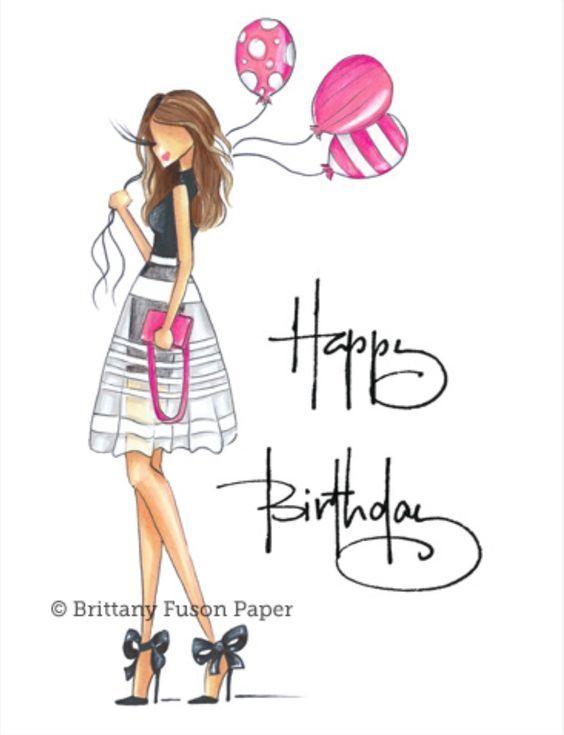 Рисунок открытки с днем рождения девушке