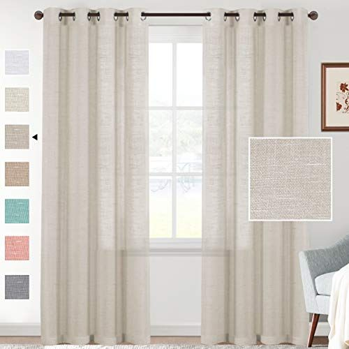 H Versailtex Pure Linen Blended Semi Sheer Curtains 84 Inches Lengthy Wealthy Linen Textured Window Draperies For Dwell In 2020 Curtains Rustic Curtains Sheer Curtains
