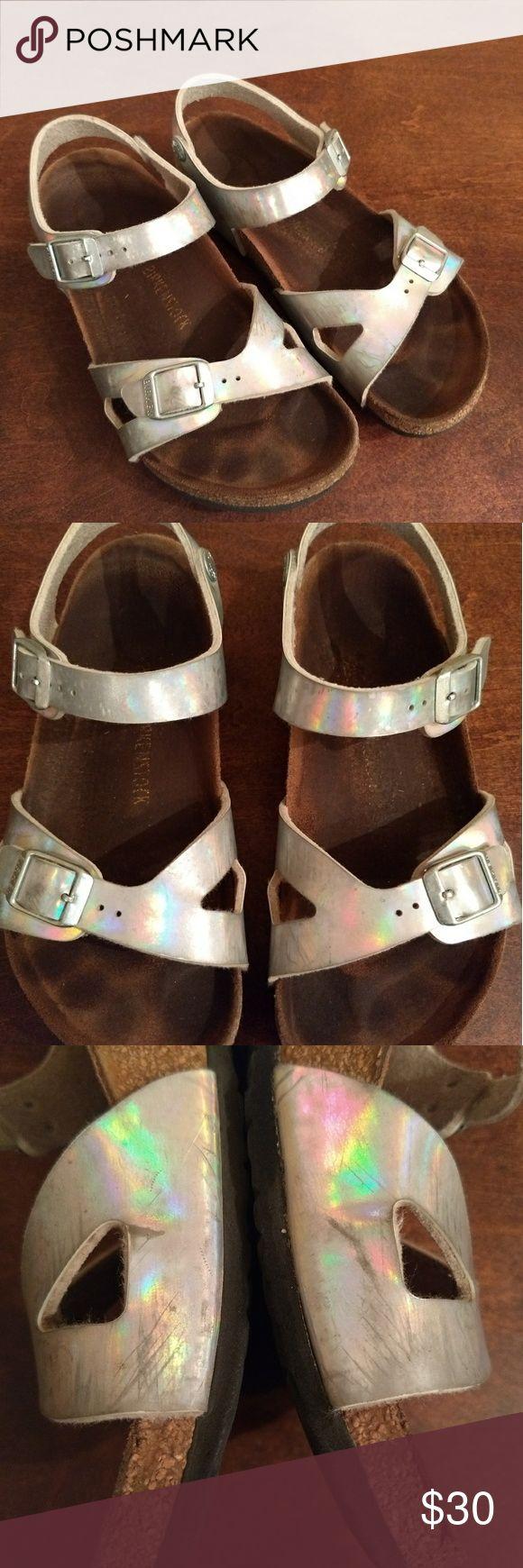 Birkenstock Sandals Girls Birkenstocks Silver holographic Hard to find size! 34 or US 3 or 4 Has markings on shoes so check out pictures Birkenstock Shoes Sandals & Flip Flops