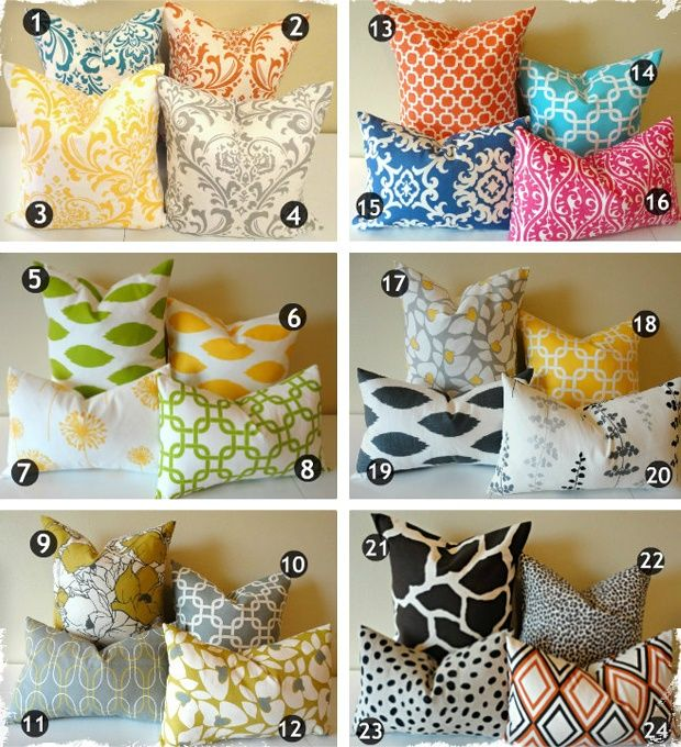 colorful accent pillows - The Needle Shop carries some of those fabric designs.