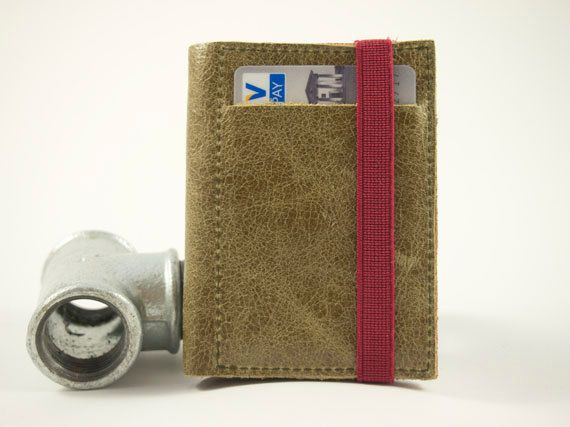 Olive And Red Leather Wallet Small Wallet Olive Leather by Gazur, €44.00