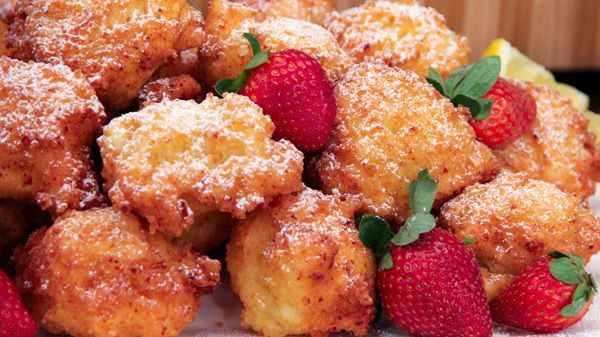 These golden fritters by Danny Boome are light, moist, and not too sweet. Enjoy them while still warm, dusted with icing sugar. (Danny likes a squeeze of fresh lemon juice on top too.) Yield:6 -8 servings Ingredients Vegetable oil, for...