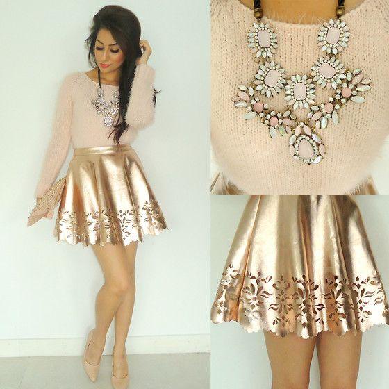 Fluffy Knitted Jumper, Missguided Rose Gold Skater Skirt, Studded Clutch, Studded Pointed Heels, Multi Coloured Gem Necklace