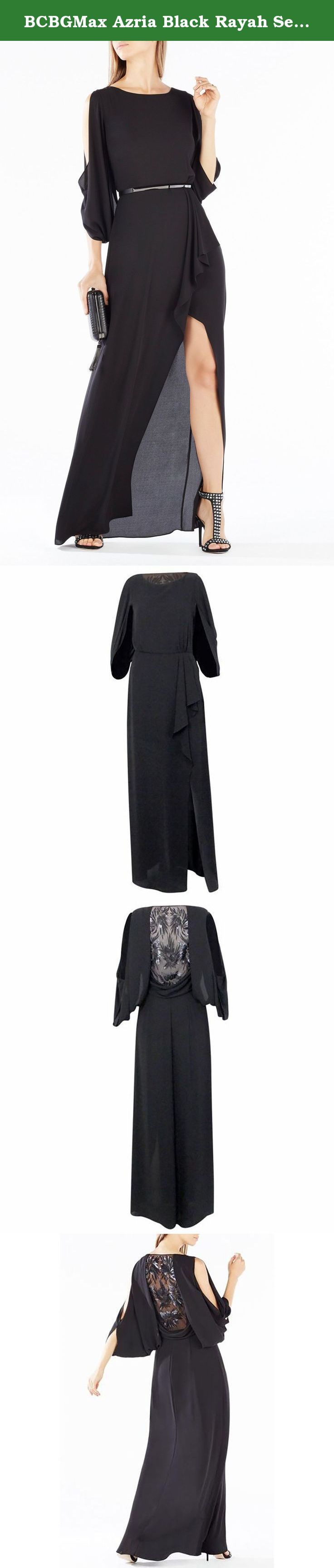 """BCBGMax Azria Black Rayah Sequin Embroidered Draped Back Gown (Size 2, Black). An effortless silhouette of a gown featuring an unexpected sheer tulle back embellished with shimmering sequins and embroidery, billowing cold-shoulder sleeves, a bateau neckline, defined waist with diaphanous ruffles that open into an extreme leg slit, and a concealed side zipper closure. Fully Lined. Bust 34"""", Waist 26"""", Hip 36.5""""; Length 61""""."""
