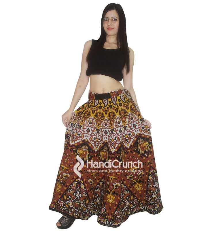 Mandala printed long rapron skirt for girls
