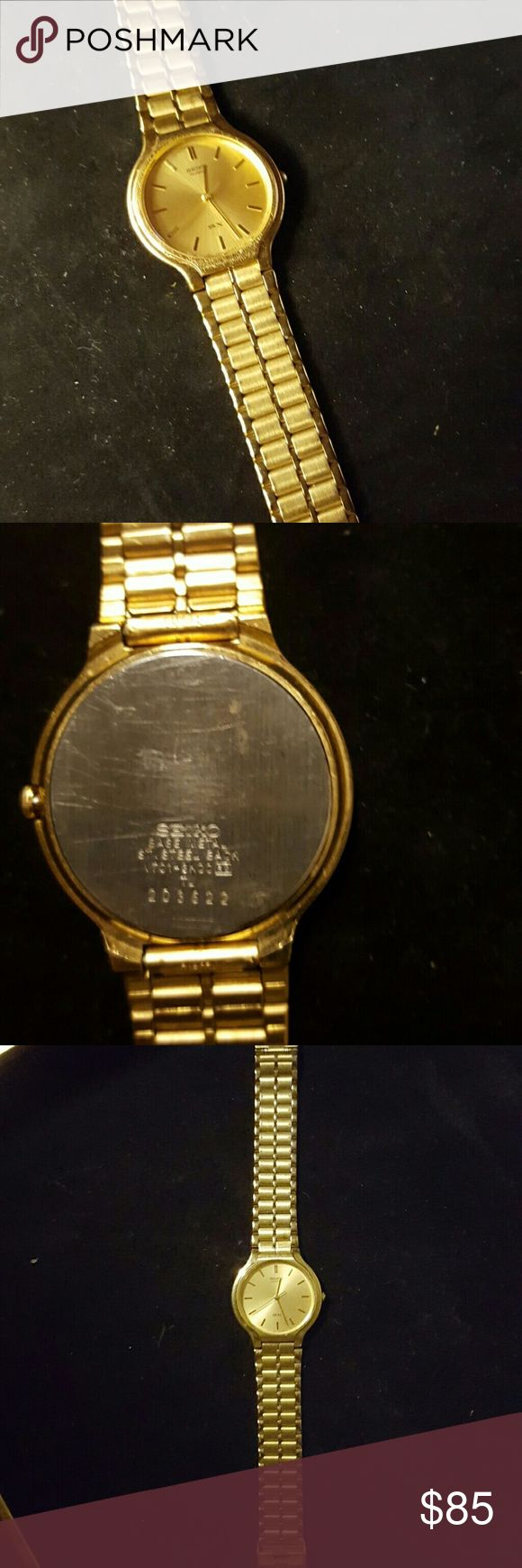 Mens seiko sx watch Beautiful gold colored watch with no scratches on face. 9 inches in length Seiko Accessories Watches