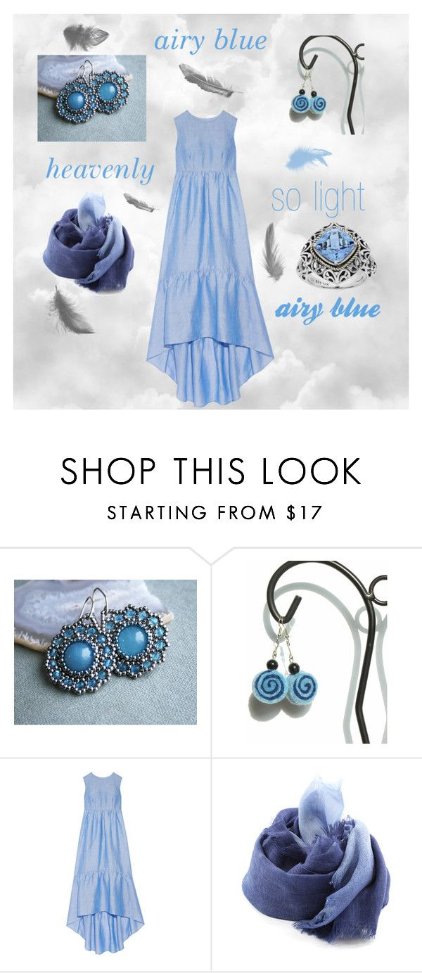 """""""Airy blue"""" by marudafelting ❤ liked on Polyvore featuring CO, DESTIN, handmade, poletsy, airyblue and MarudaFelting"""