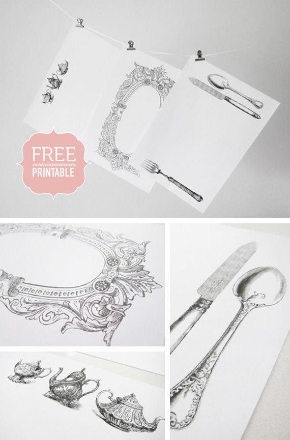 printable placemats with teapots and fork, spoon, knife
