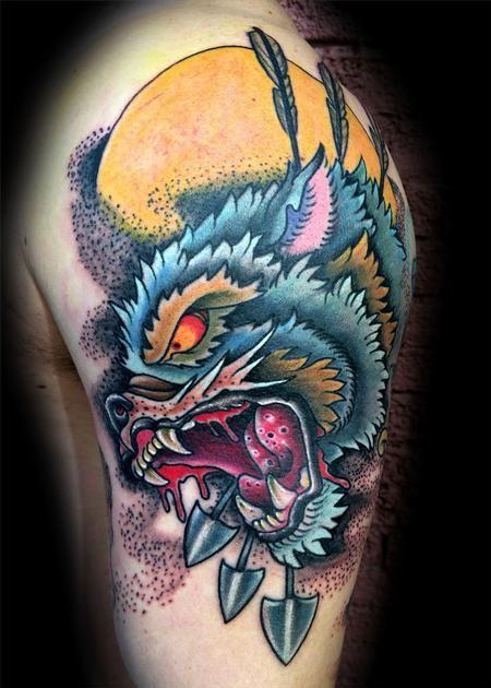 Canyon Webb - Wolf hunter  #tattoo #wolftattoo #traditional