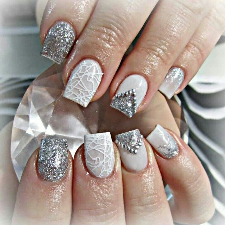 20 best nails i admire images on pinterest nail design nail acrylic nails white and sliver glitter diamonds winter prinsesfo Images