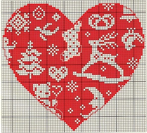 Christmas heart chart by Des Petites Mains...
