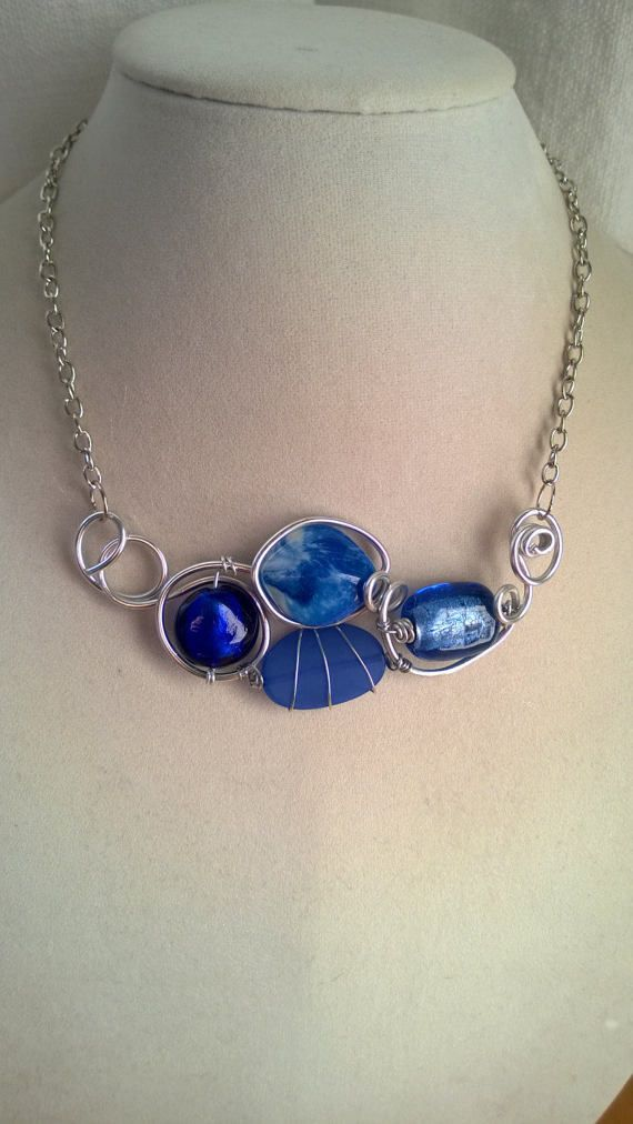 Blue necklace blue jewelry Wire wrapped necklace Aluminium