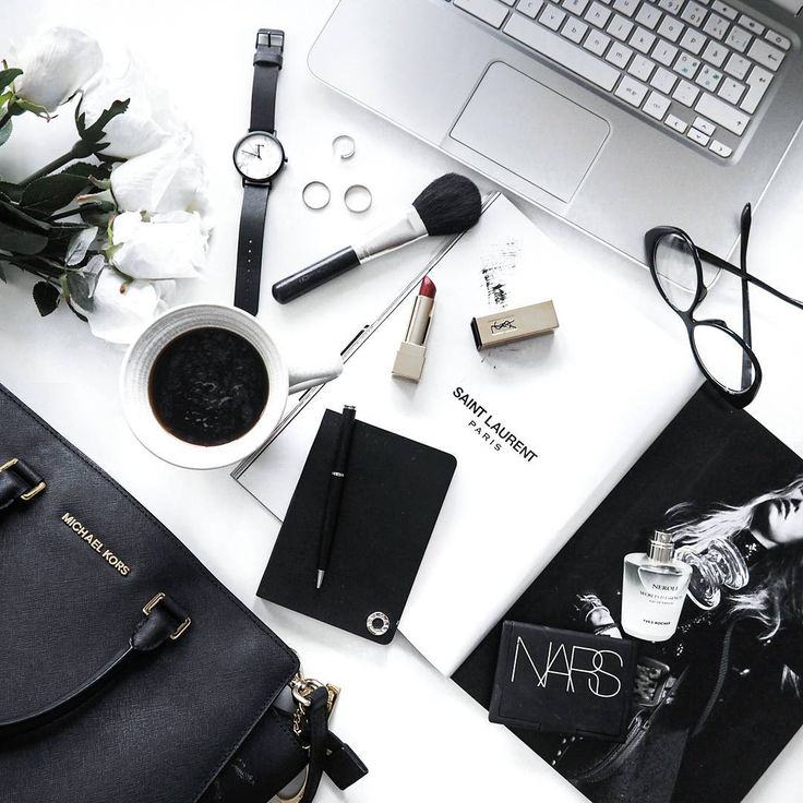 Black and white flat lay