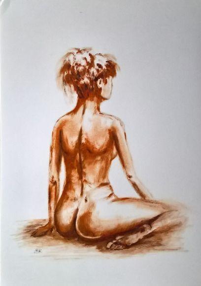 NUDE, woman sitting